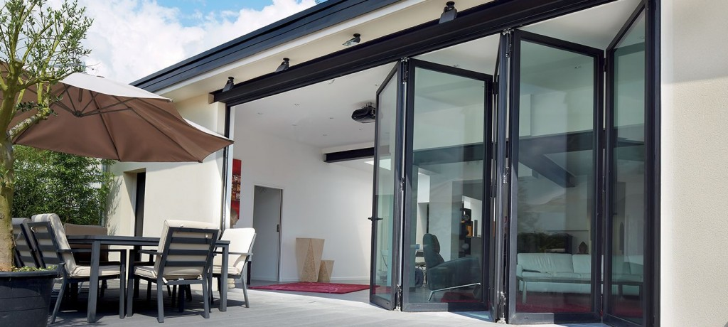 Improve energy efficiency and add value with aluminium doors like this bifolding doors from Reynaers at Home