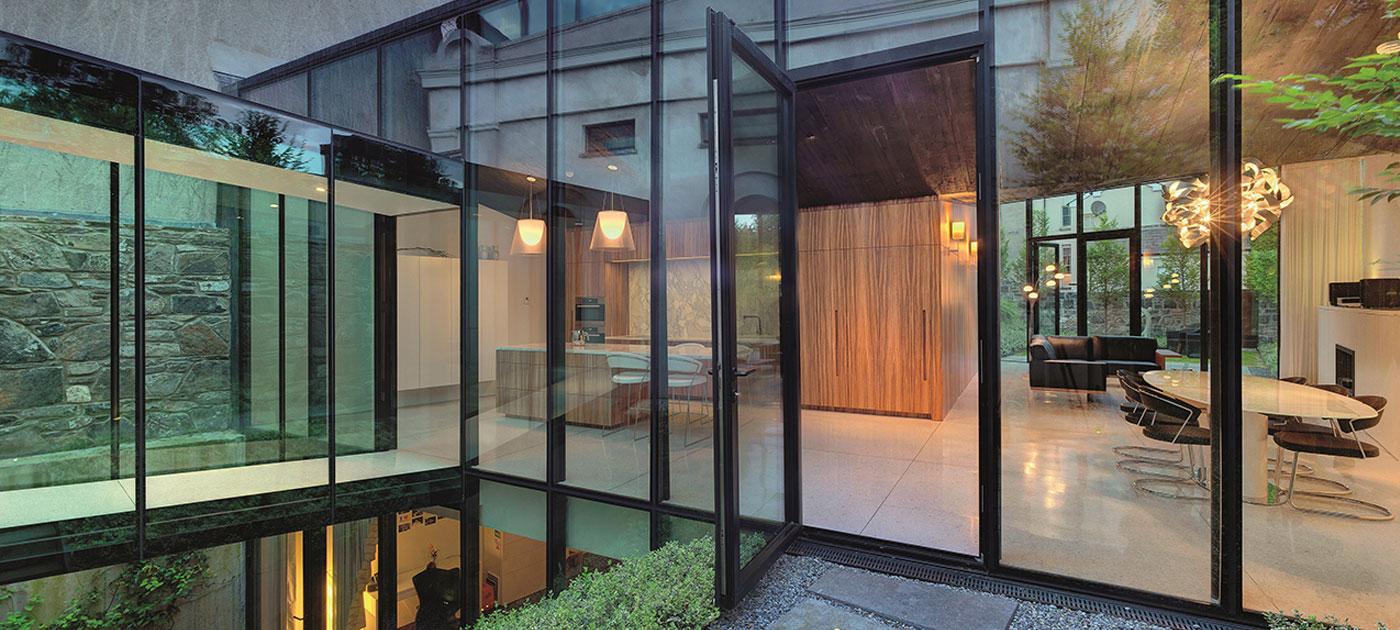 Entrance door linking home and garden
