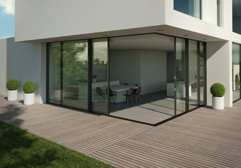 Our largest aluminium doors now come triple glazed or as an elegant corner solution