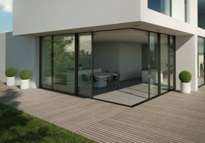 Our largest sliding aluminium doors now come triple glazed or as an elegant corner solution