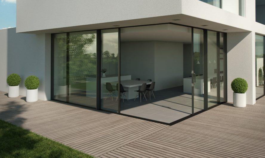 Our largest sliding aluminium doors now come triple glazed or as an elegant corner solution