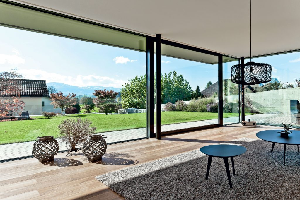 Using windows and doors to frame a landscape feature