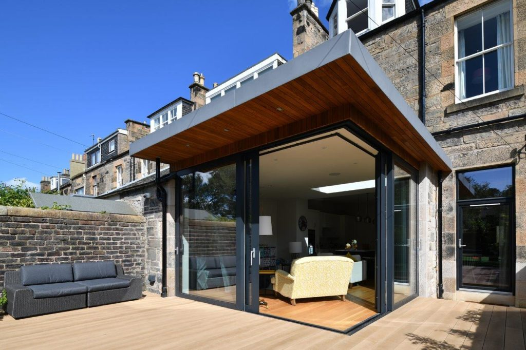 beautiful patio with open sliding doors